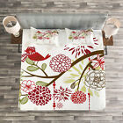 Christmas Quilted Bedspread & Pillow Shams Set, Red Bird Floral Tree Print
