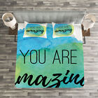 Quote Quilted Bedspread & Pillow Shams Set, Inspiratonal Watercolor Print image