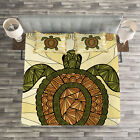 Boho Quilted Bedspread & Pillow Shams Set, Turtle Zentangle Artwork Print image