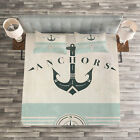 Nautical Quilted Bedspread & Pillow Shams Set, Vintage Marine Anchor Print image