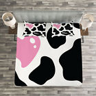 Cow Print Quilted Bedspread & Pillow Shams Set, Camouflage Pattern Print