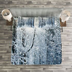 Winter Quilted Bedspread & Pillow Shams Set, Snow Covered Forest Print image
