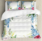 Flowers Duvet Cover Set with Pillow Shams Lilac Spring Lavenders Print image