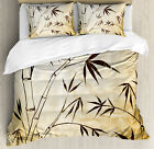 Asian Duvet Cover Set with Pillow Shams Gradient Bamboo L...
