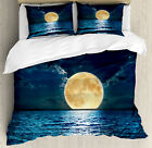 Ocean Duvet Cover Set with Pillow Shams Magic Super Moon Design Print image