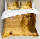 Egyptian Duvet Cover Set with Pillow Shams Great Sphinx Old Face Print image