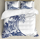 Japanese Wave Duvet Cover Set with Pillow Shams Oriental Vintage Print
