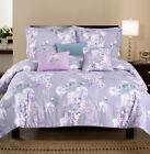 6PC Puple Flower with Leaves Printed Floral Oversize+Overfilled Comforter Set image