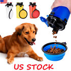 2 in 1 Dog Drinking Water Bottle With Bowl Outdoor Travel Cup Food Container US