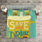 Retro Quilted Bedspread & Pillow Shams Set, Foamy Beer Glasses Quote Print