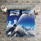 Fantasy Quilted Bedspread & Pillow Shams Set, Snow Capped Mountain Print image