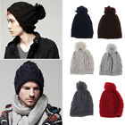 Womens Men Knit Baggy Fur Ball Beanie Hat Casual Winter Warm Couple Wool Hat New