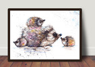 Hedgehog Family ,Watercolour ,Print ,Card, Gift, Wildlife,Animal,Art, wall