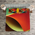 Abstract Quilted Bedspread & Pillow Shams Set, Graphic Colored Print image