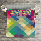 Abstract Quilted Bedspread & Pillow Shams Set, Colorful Retro Scales Print image