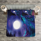 Moon Quilted Bedspread & Pillow Shams Set, Aurora Borealis and Wolf Print image