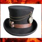 """STEAMPUNK VICTORIAN GOTHIC Wool Felt MAD HATTER TOP HAT with WATCH 6"""" Crown New"""