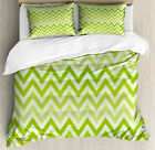 Lime Green Duvet Cover Set with Pillow Shams Traditional Chevron Print