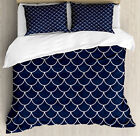 Nautical Duvet Cover Set with Pillow Shams Ocean Waves Sea Shell Print