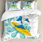 Ride The Wave Duvet Cover Set with Pillow Shams Funny Shark Surf Print