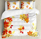 Fall Duvet Cover Set with Pillow Shams Tree Leaves and Berries Print image
