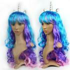 Halloween Unicorn Long Curls Wig Cartoon My Little Pony Costume Party Kids Gift