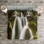 Nature Quilted Bedspread & Pillow Shams Set, Waterfall Forest Cascade Print image