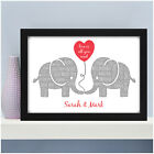 Personalised Elephant Couples Gifts for Her Husband Wife Wedding Anniversary