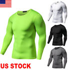 Men Workout Compression Gym Sportwear Long Sleeve T-Shirt Top Cycling Sports Tee image