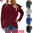 Womens Long Sleeve Asymmetric Hoodie Sweatshirt Hooded Pullover Tops Jumper Coat
