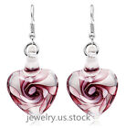 Women White Gold Plated Rose Flower Glass Heart Clear Drop Dangle Earrings