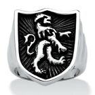 Men's Antique Stainless Steel Lion Shield Coat of Arms Ring