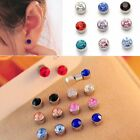 2pc Magnetic Crystal Round Earrings Non Piercing Clip On Men Kids Ear Magnet