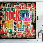 Retro Shower Curtain Music Rock n Roll Poster Print for Bathroom