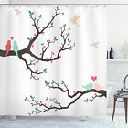 Love Shower Curtain Retro Birds on Tree Branch Print for Bathroom