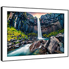 SC969 Blue Green Black Waterfall Nature Landscape Framed Wall Art Picture Prints