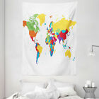 World Map Tapestry Countries and Oceans Print Wall Hanging Decor