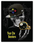 Pittsburgh Steelers Nfl Skull Car Bumper Sticker Decal - 3'' Or 5''