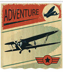 Vintage Shower Curtain Adventure with Plane Print for Bathroom