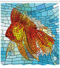 Fish Shower Curtain Stained Glass Geometric Print for Bathroom