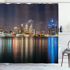 Detroit Shower Curtain Night Time Cityscape Print for Bathroom