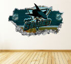 San Jose Sharks Wall Art Decal Hockey Team 3D Smashed Wall Decor WL41 $36.95 USD on eBay