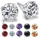 Pair Men Women 925 Sterling Silver Solitaire Round Cubic Zirconia Stud Earrings
