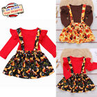 Newborn Baby Girl Jumpsuit Tops+Fox/Turkey Straps Skirt Thanksgiving Outfit Set