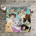 Cat Lover Quilted Bedspread & Pillow Shams Set, Cats Feline Domestic Print image