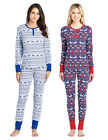 Ashford & Brooks Women's Printed Thermal Waffle Knit PJ Set