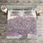 Tree Quilted Bedspread & Pillow Shams Set, Watercolor Bohemian Print image