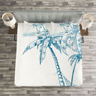 Tropical Quilted Bedspread & Pillow Shams Set, Palm Trees at Beach Print image