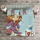 Kids Quilted Bedspread & Pillow Shams Set, Cartoon Girl with Bike Print image