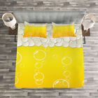 Abstract Quilted Bedspread & Pillow Shams Set, Bubbles Beer Macro Print